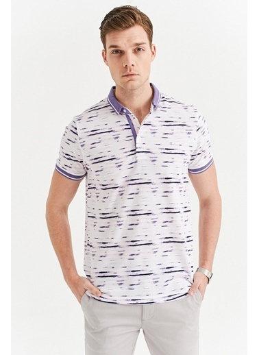 Avva Erkek  Polo Yaka Baskılı Tişört A01Y1001 Mor